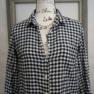 J Crew Black and White Gingham Shirt sz 6